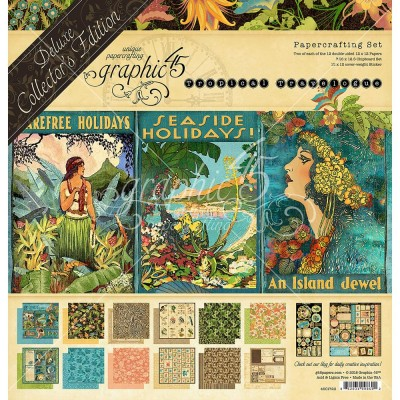"Graphic 45 - ""Tropical Travelogue"" Ensemble de papier de luxe  12"" X 12""  24feuilles"